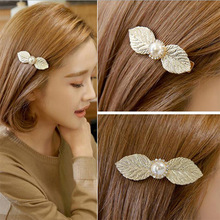 1 Pcs For Women Simple Barrettes Big Leaf Pearl Hairpins Girls Hair Clips Fashion Sweet Bangs Clips Hair Accessories sweet faux pearl leaf anklet for women