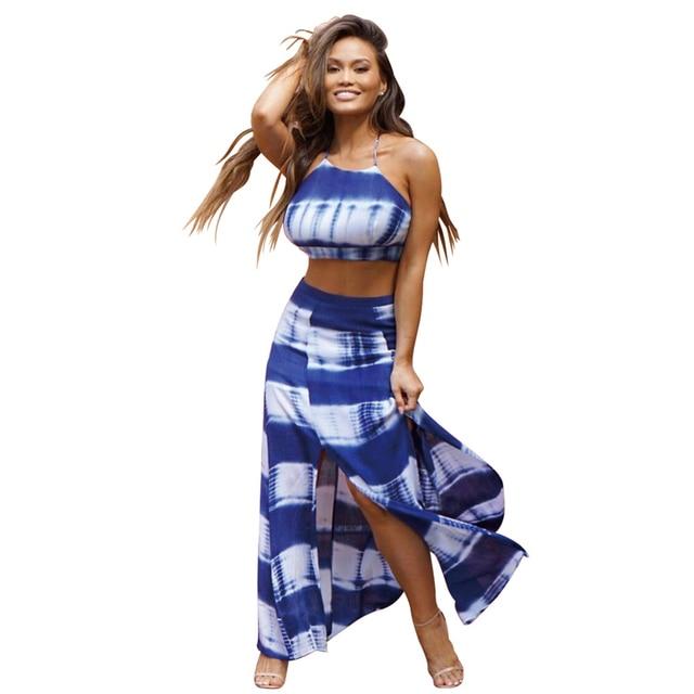 High Waist Skirt Set Summer Crop Top + long Skirt Two Piece Set Women Beach  Maxi Skirt Suit Sleeveless Print Split Tracksuits 1acdeff4a