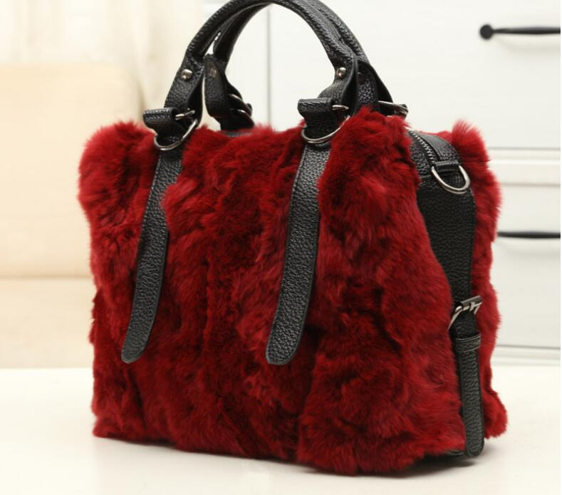 2018 real rabbit fur women's shoulder bag fashion lady's one shoulder cross body bag winter handbag