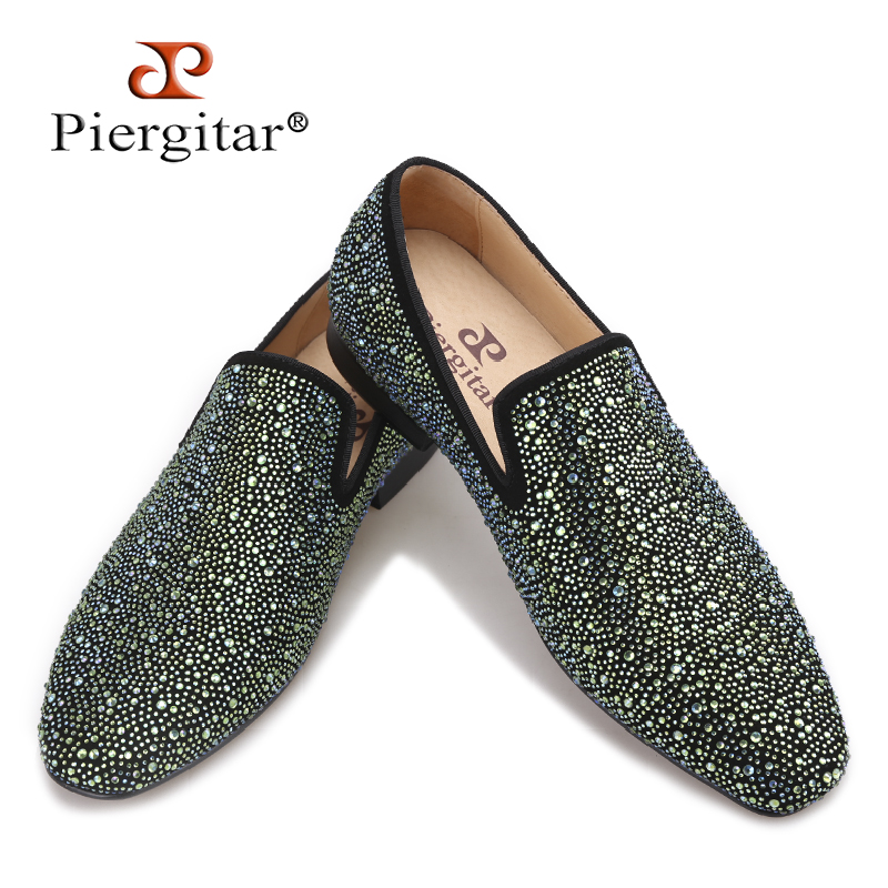 Piergitar 2017 men leather shoes with mixed colors shining rhinestone luxurious brand party and wedding men's loafers male flats men loafers paint and rivet design simple eye catching is your good choice in party time wedding and party shoes men flats