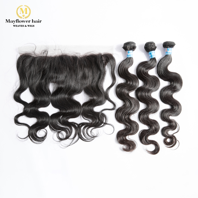 "MFH 2/3/4 Bundles Virgin Malaysian Body Wave Hair With 13x4"" Ear To Ear Lace Frontal Natural Black Unprocessed Raw Hair Products"