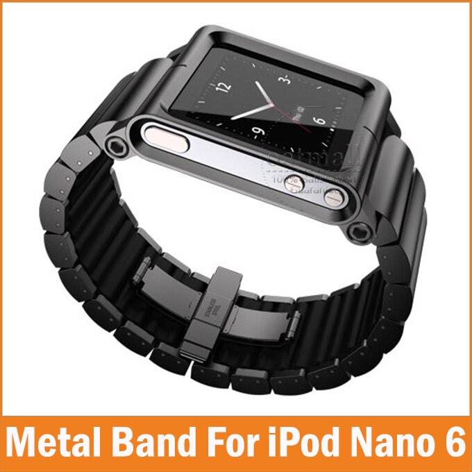 imágenes para Nuevo Metal de Aluminio Muiti-touch para Apple iPod Nano 6 Caja de sexta Generación iwatchz Clásico Relojes de Pulsera Correa de Cubierta bolsas