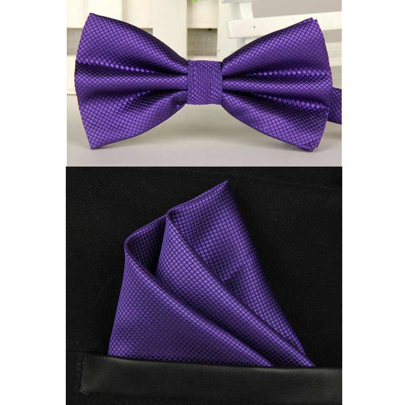 男性海軍紫蝶ネクタイとハンカチセット