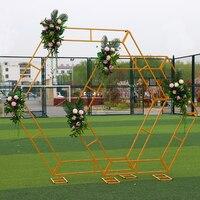 Flone свадебный реквизит шестиугольная Арка Свадебная Алмазная железная Арка полка для сцены украшение из белого золота фоновая рамка витрин
