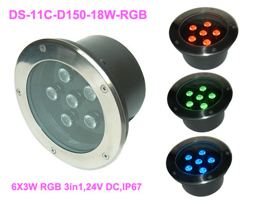 good quality,High power outdoor 18W RGB LED Spotlight,RGB LED recessed light,DS-11C-D180-18W-RGB,6*3W RGB 3in1,24V DC ip65 ce good quality high power 36w rgb led wall washer rgb led wash light 12 3w rgb 3in1 24vdc ds t21a 36w rgb 50cm pc