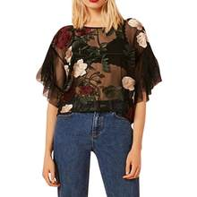 (Ship from US) Summer 2018 Womens Tops and Blouses Tunic Mesh Floral Print  Tee Shirts Sexy Flare Sleeve Half Sleeve Transparent Women Clothes 64023c4db299