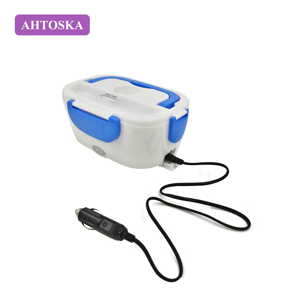AHTOSKA 12V Portable Electric Heating Lunch Box Food-Grade Food Container Food Warmer For Kids 4 Buckles Dinnerware Sets Car