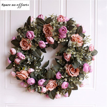 Large 45cm Party Floral Artificial Rose Wreath Door Hanging Wall Window Decoration Wreath Holiday Festival Wedding Decor(China)