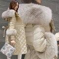 2016 Coreano Novo Inverno Slim Com Capuz Quente Real Fox Fur Collar fêmea Para Baixo Casaco Longo Plus Size Mulheres Jaqueta Parka Pato Branco para baixo