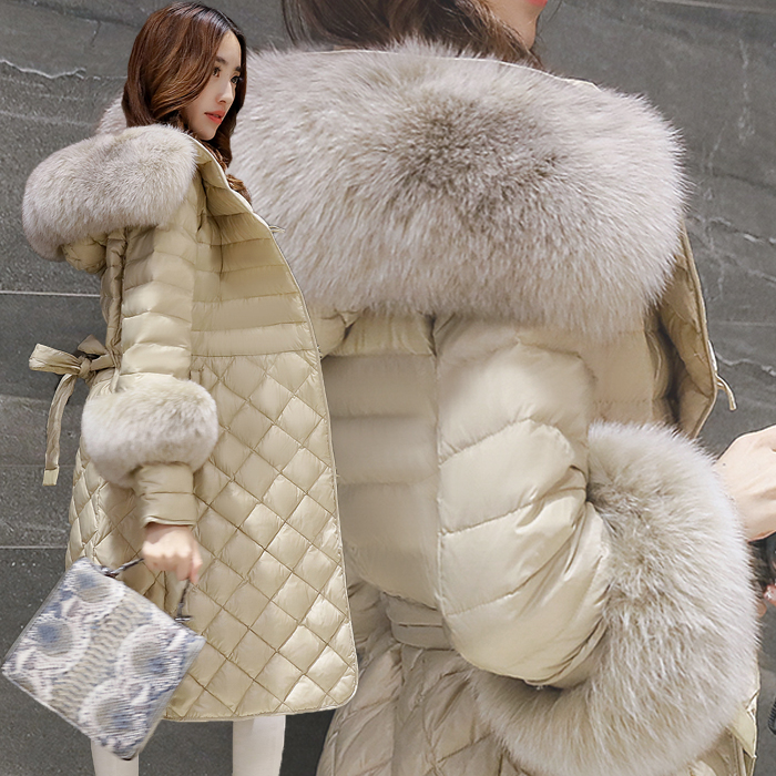 2016 Korean Winter New Slim Warm Hooded Real Fox Fur Collar Female Down Coat Long Plus Size Women Jacket Parka White Duck Down