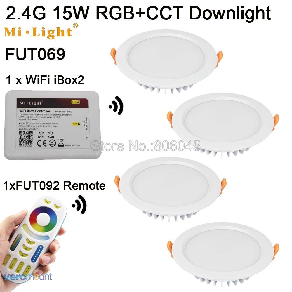 FUT067 AC85-265V Mi. light 2.4 г беспроводная 4-зоны сенсорный пульт IP54 15 Вт RGB + <font><b>CCT</b></font> светодиодный sarmt Wi-Fi светильники android/IOS приложение управления