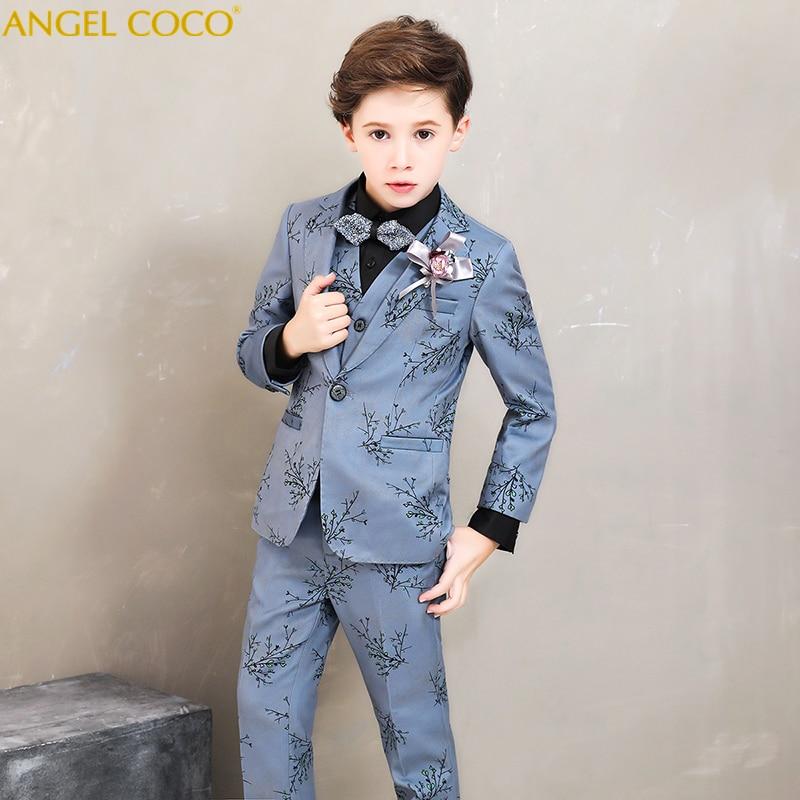Бренд цветок костюмы для мальчиков набор детей свадебное торжественное платье Куртка Блейзер рубашка брюки галстук костюм детский выпускн