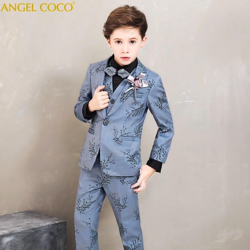 Brand Flower Boys Clothing Suits Set Kids Wedding Formal Dress Jacket Blazer Shirt Pants Tie Suit Children Prom Ceremony Costume