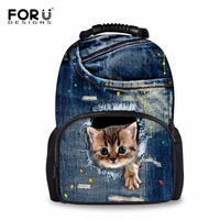 FORUDESIGNS Denim Cute 3D Cat Dog Large School Bags Women Backpack Casual Book Schoolbag Travel Bagpack Mochila Escolar Rucksack