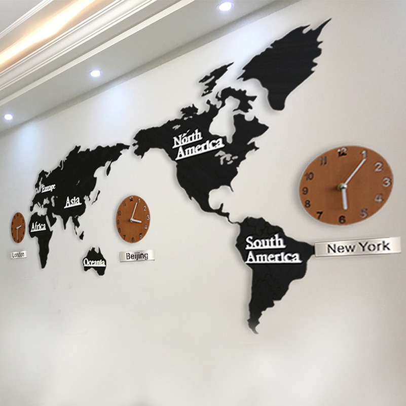 3d acrylic wall clock world map large size wall sticker clock modern 3d acrylic wall clock world map large size wall sticker clock modern european mute clock home decoration gifts wall quartz watch in wall clocks from home gumiabroncs Image collections