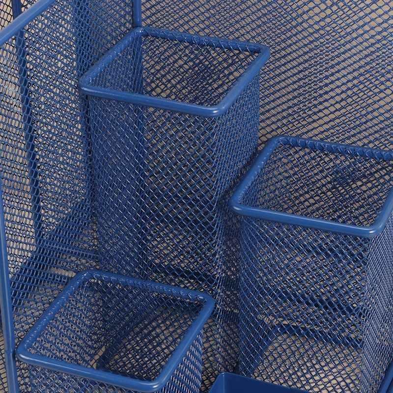 Blue Storage Multi-Functional Desk Organizer Mesh Pen Holder Stationery Container Box Office School Supplies Storage Rack