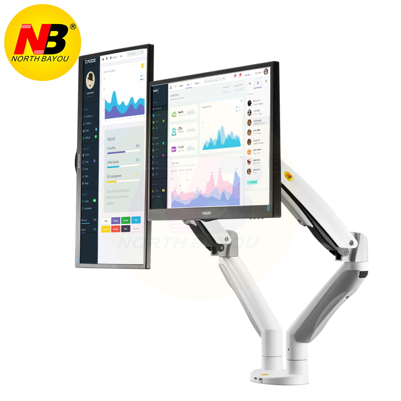 NB F195A Aluminum Alloy 22-32 inch Dual LCD LED Monitor Mount Gas Spring Arm Full Motion Monitor Holder Support with 2 USB Ports цена