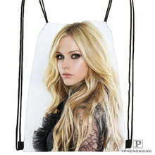 Custom Avril Lavigne 005 Drawstring Backpack Bag Cute Daypack Kids Satchel (Black Back) 31x40cm#180612-03-Avril