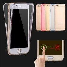 Para iphone 6 6 s 6 s plus 5 5S se volta à prova de choque + frente Toque Transparente TPU Soft Case de Proteção de corpo inteiro De Silicone Claro cobrir