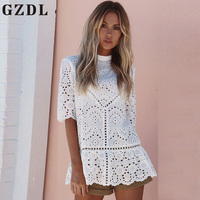 GZDL Fashion 3 4 Sleeve Summer Top O Neck Party Femininas Tops Blouses Elegant Hollow Out