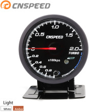 Free Shipping CNSPEED 60MM Auto turbo boost gauge -1-2Bar Amber/White backlight with peak Function Car meter