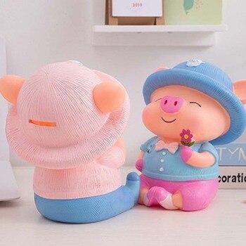 Tirelire cochon rose garçon arrière