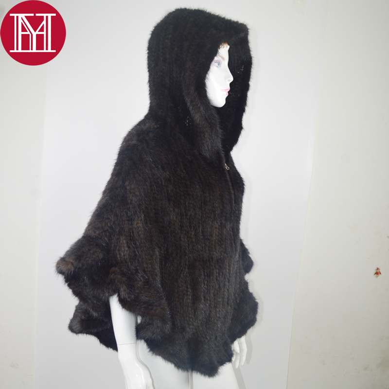 2019 New Style Genuine Mink Fur Shawl Knitted Real Mink Fur Poncho For Women Natural Fur Warp With Hood Winter Mink Fur Jacket