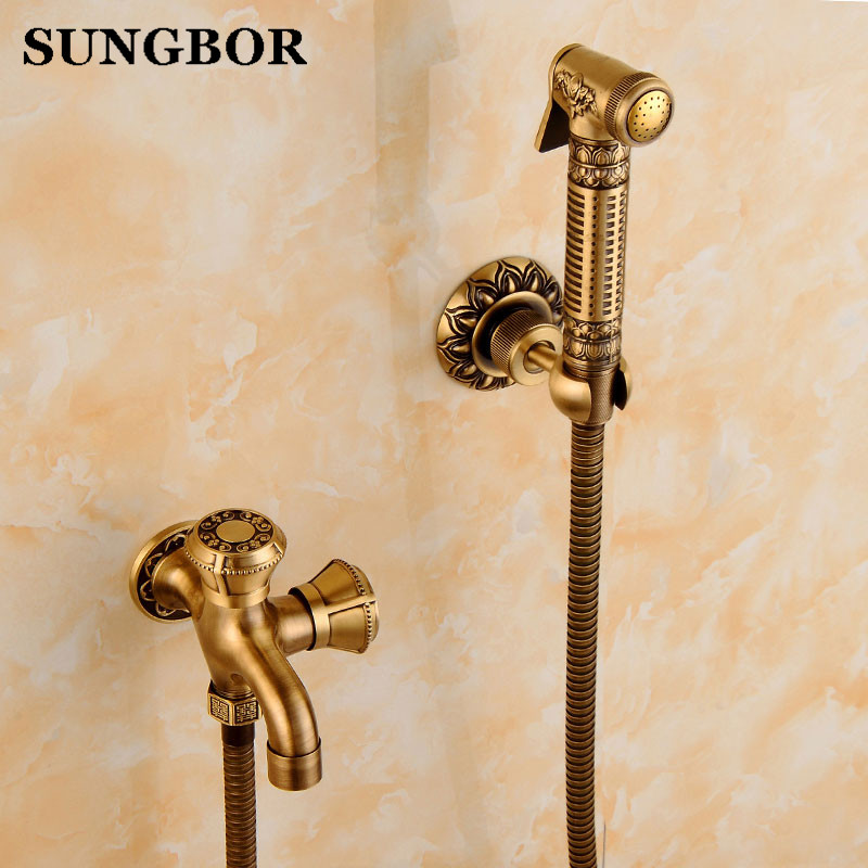 Carved Antique Brass Bidet Faucets Wall Mounted Bathroom Shower Toilet Washing Machine Faucet Cold Water With