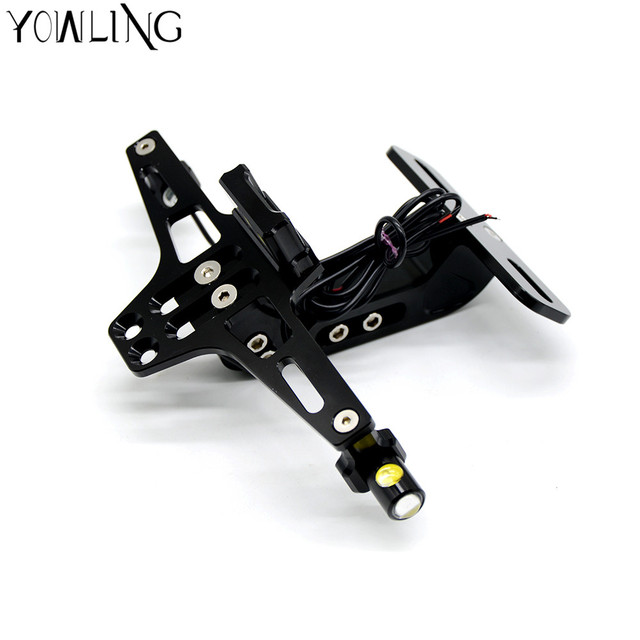 Motorcycle accessories Universal Fender Eliminator License Plate Holder For YAMAHA YZF-R1 R1 R3 R6 FZ1 FZ6 FZ8 XJ6 with LED Light-GOLD