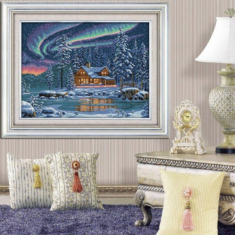 Aurora borealis Tištěné plátno DMC Počítadlo DIY Čínské křížové stitch soupravy tištěné Cross-stitch set Vyšívání Vyšívání
