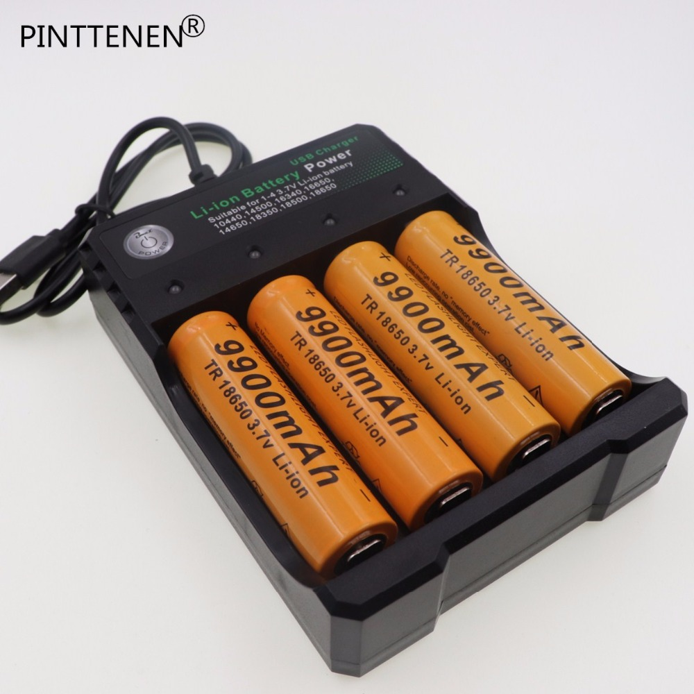 PINTTENEN 4PCS Brand new battery 18650 3.7V 9900 MAH Li ion rechargeable battery 18650 batery +USB battery charger intelligent