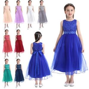 Image 2 - IEFiEL אלגנטי נצנצים ילדים פעוט פרח בנות תחרה שמלת תחרות חתונה כלה ילדי שושבינה נסיכת טול שמלה