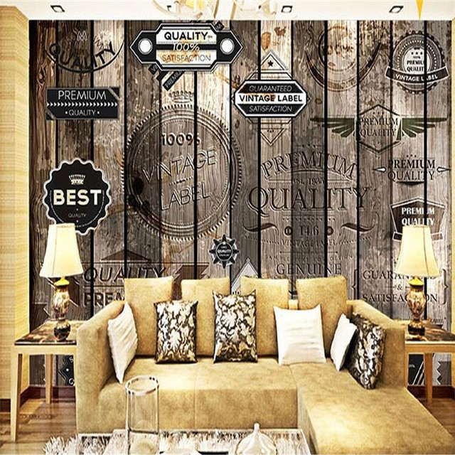 Awesome Custom Photo Wall Mural Wallpaper 3d Luxury Quality HD Nostalgic Retro  Style Wooden Alphabet Cafe Part 10