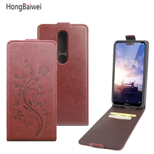 цена на Embossing Leather Case For Nokia X6 Case Up Down Flip Case Shell For Nokia X6 X6 Cover Phone Cases Funda Bags Coque