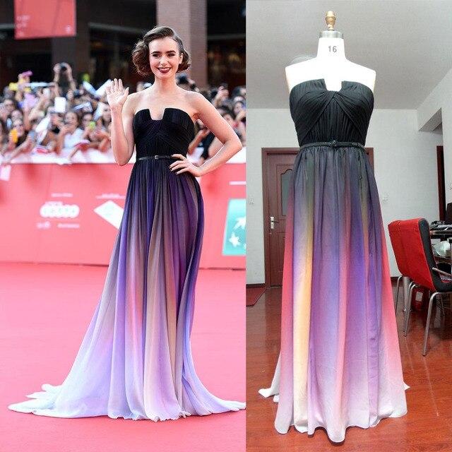 Lily Collins de alfombra roja Vestidos Elie Saab Ombre Vestidos ...