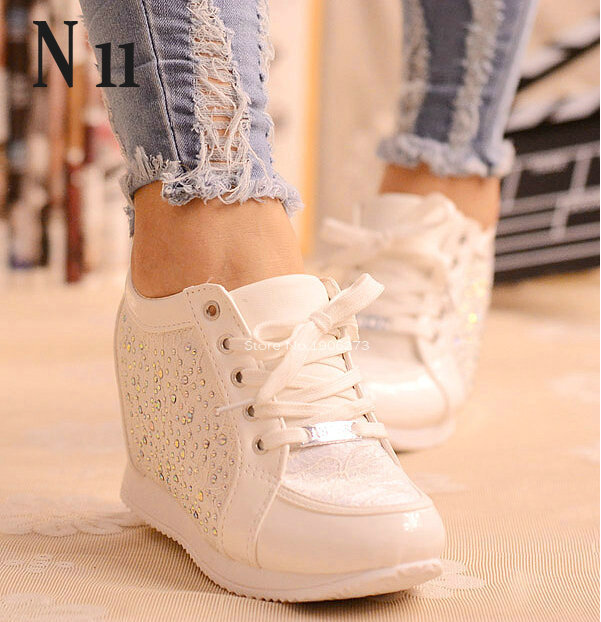 Women's Wedge Hidden Elevation Heel Sneakers
