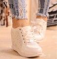 Negro El Envío Libre Blanco con Cuña Oculta Tacones de Moda de Las Mujeres Ascensor Zapatos Casuales Zapatos de tacón De cuña de Las Mujeres Del Rhinestone 2016