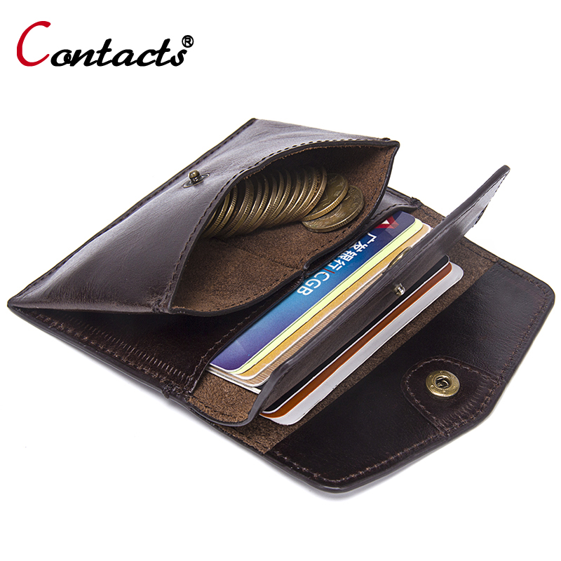 CONTACT'S Coin Purse Mini Men Wallet Small Genuine Leather Credit & ID Card Holder Coin Wallet Male Cowhide Leather Coin Purse joyir vintage men genuine leather wallet short small wallet male slim purse mini wallet coin purse money credit card holder 523