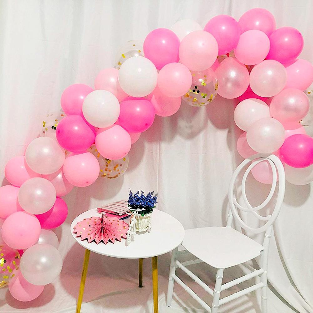 QIFU 107pcs Latex balloon Arch Pink Balloons Set 1st Birthday Balloon Happy Party Decorations Kids Adult Wedding Ballon
