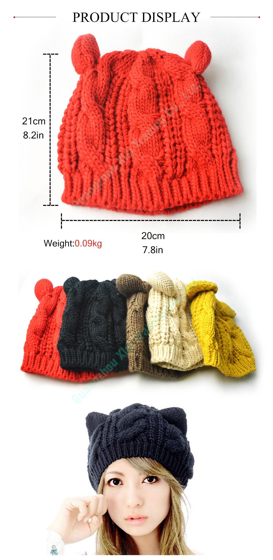 Women s Winter Knit Crochet Braided Cat Ears Beret Beanie Ski Knitted Hat  Cap Cat Ears Knitted Beanie Winter Hats For Women 1f1629b72d7b