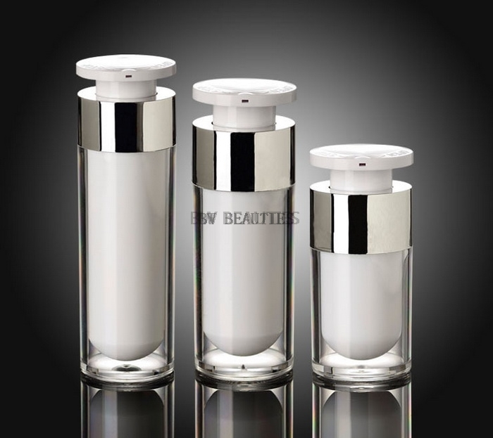 100pcs 15ml 30ml 50ml Silver Airless Bottle High Quality Acrylic Vacuum Pump Bottles Lotion Bottle Used