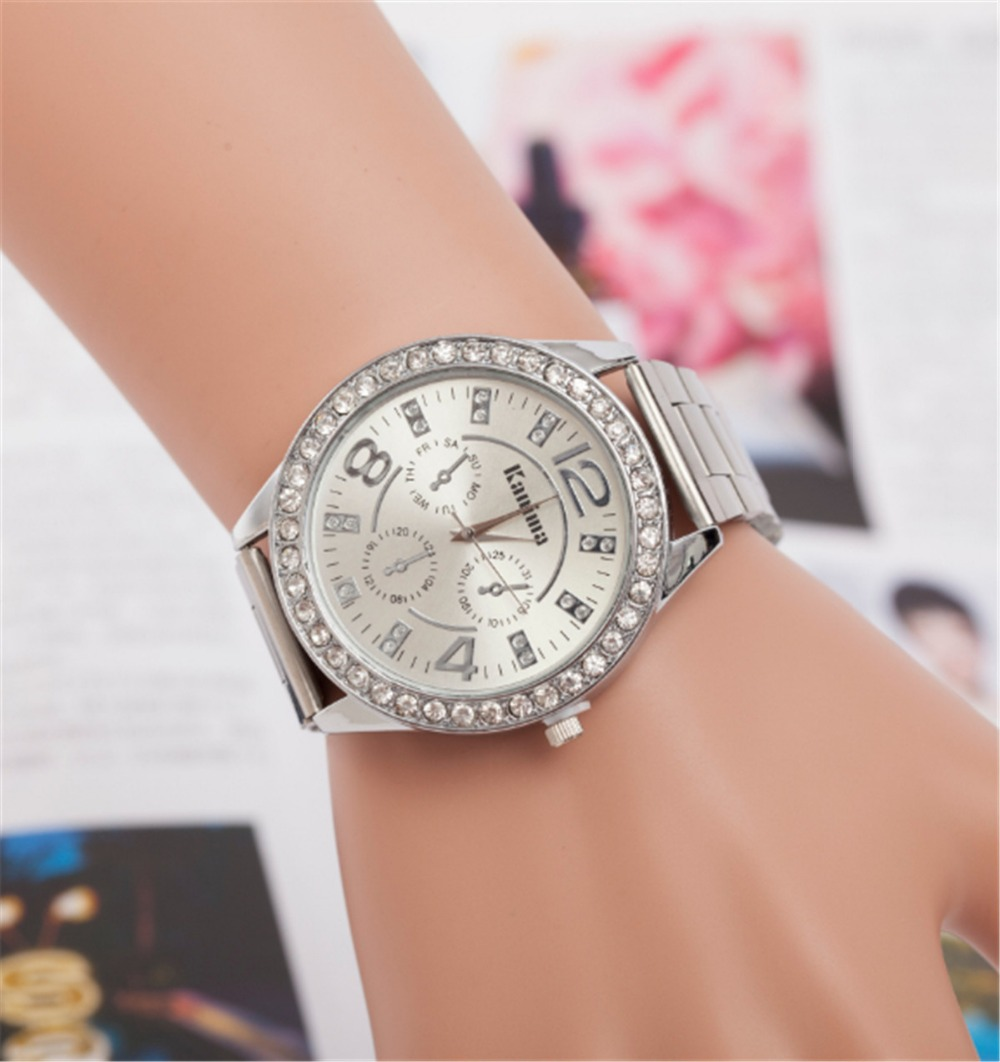 цена на Hot selling summer new diamond alloy steel watch for ladies and men fashion three eyes quartz watch three colors can be selected