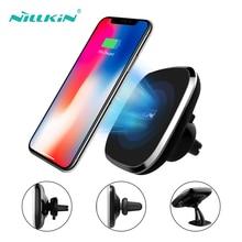 Nillkin carregador de carro sem fio titular para iphone xr x xs max 8 magnético carregador de telefone para iphone 8 xr 10w qi carregamento sem fio rápido