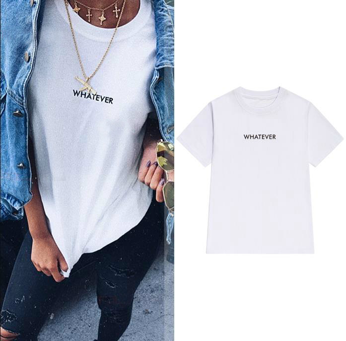 whatever letters Women tshirt Cotton Casual Funny   t     shirt   For Lady Yong Girl Top Tee Hipster Tumblr ins Drop Ship S-69