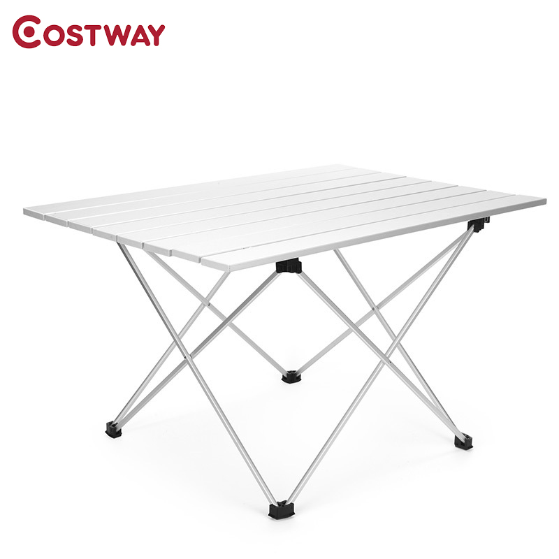 COSTWAY Outdoor Aluminum Alloy Portable Folding Table Picnic Table Tea Table Camping Barbecue Square Table W0270 70 70 69cm aluminum alloy folding table portable outdoor barbecue table camping table picnic desk