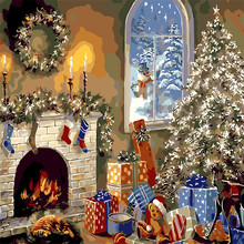 Christmas Present Tree Oil Painting By Numbers DIY Abstract Digital Picture Coloring By Numbers On Canvas Unique Gift Home Decor diy digital oil painting by numbers kits coloring landscape painting by numbers unique gift for living room home decor 40 50cm