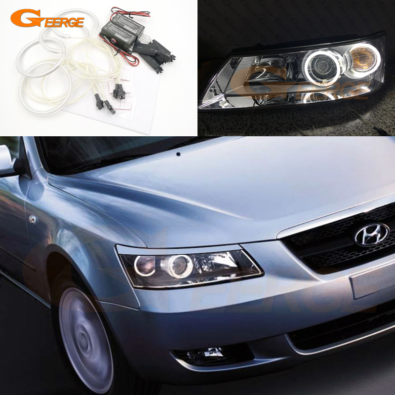 все цены на  For Hyundai Sonata 2006 2007 2008 Excellent Ultra bright headlight illumination CCFL Angel Eyes kit Halo Ring  онлайн