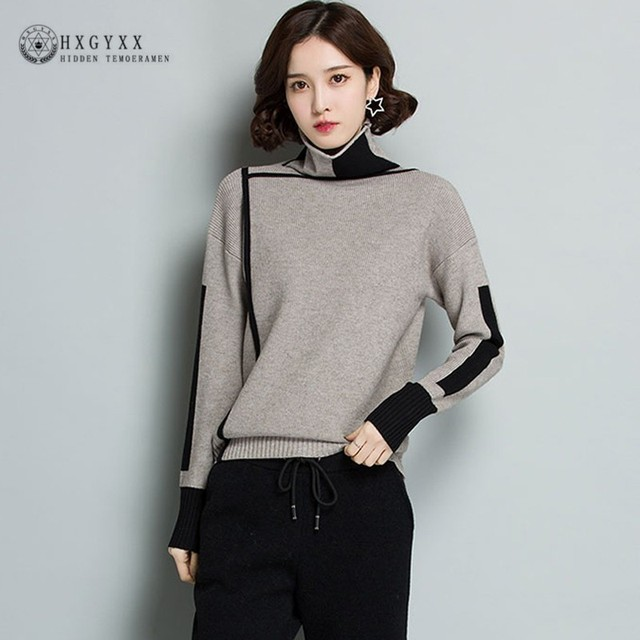 c2fa4a6d5e9 2019 Autumn Knitted Sweater Cashmere Women Pullover Elegant Winter  Turtleneck Loose Warm Plus Size Knitting Jumper Female Oke090
