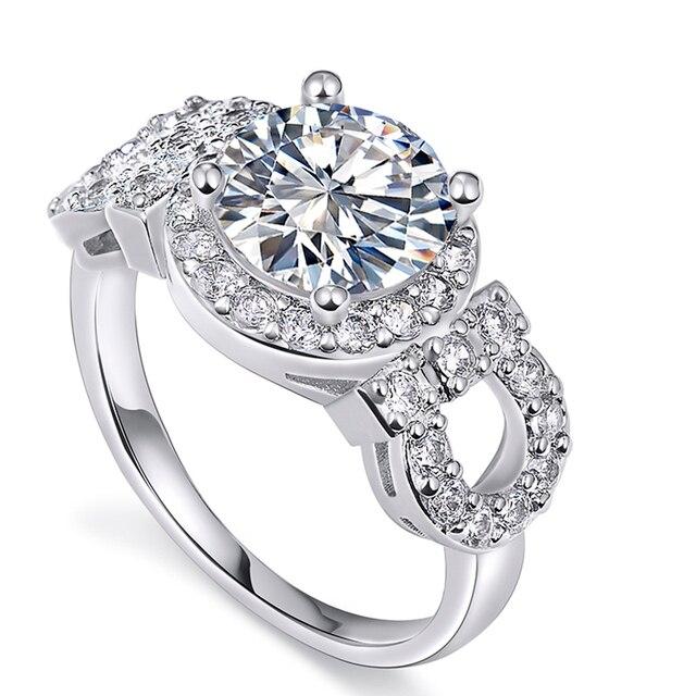 Silver plated austrian Crystal zirconia Jewelry engagement Ring for women luxury wedding bague bijoux accessories MYR 101