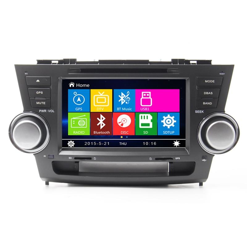 Free Map New 8 inch For Toyota Highlander Kluger 2008 2009 2010 Car dvd GPS radio navigation head unit Bluetooth Ipod HD LCD TV